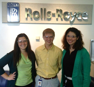 Senior Chris Reimer (center) during summer internship at Rolls-Royce.