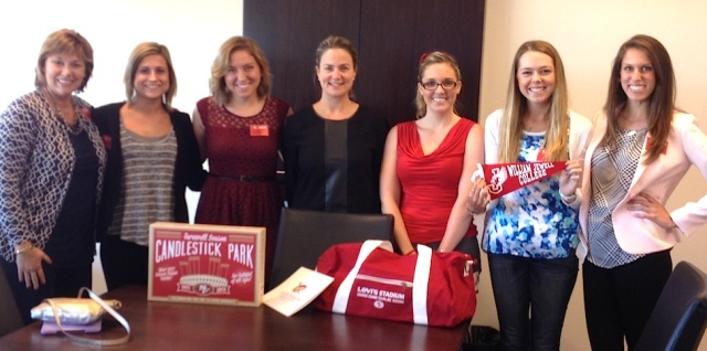 Professor Shelly McVay, Students Kelly Brock & Courtney Johnson, Ali Towle (49ers VP of Marketing), Tori Willis (49ers Marketing Coordinator), Students Courtney Wells & Madyson Smith.